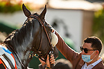MAY 31, 2021: Simon Callaghan  pets Maxim Rate for a job well done in the Gamely Stakes at Santa Anita Park in Arcadia, California on May 31, 2021. EversEclipse Sportswire/CSM