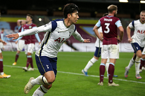 26th October 2020, Turf Moor, Burnley UK; EPL Premier League football, Burnley v Tottenham Hotspur; Goal 0-1 Tottenham Hotspur forward Son Heung-Min (7) wheels away to celebrate his goal for 0-1