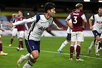 26th October 2020, Turf Moor, Burnley UK; EPL Premier League football, Burnley v Tottenham Hotspur; Goal 0-1 Tottenham Hotspur forward Son Heung-Min (7) wheels away to celebrate his goal for 0-1
