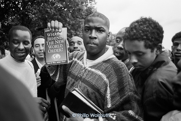 What's behind The New World Order?  Speakers' Corner, Hyde Park, London.