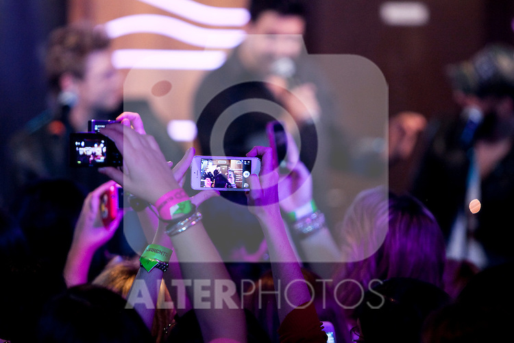 """(L-R) Kevin Richardson, Brian Littrell, Howie Dorough, Nick Carter and  AJ McLean of the Backstreet Boys attend a fan meeting performance concert during their new music album """"In A World Like This"""" presentation at 40 Principales Cafe on November 12, 2013 in Madrid, Spain. (ALTERPHOTOS/Victor Blanco)"""