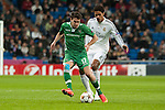 Varane of Real Madrid and Abalo of Ludogorets during Champions League match between Real Madrid and Ludogorets at Santiago Bernabeu Stadium in Madrid, Spain. December 09, 2014. (ALTERPHOTOS/Luis Fernandez)