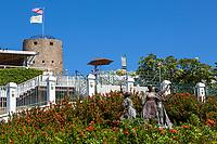 "Charlotte Amalie, St. Thomas, U.S. Virgin Islands.  Blackbeard's Castle and Monument to the ""Fireburn"" Revolt of October 1878."