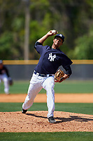 New York Yankees pitcher Alexander Rosario (46) delivers a pitch during a minor league Spring Training game against the Detroit Tigers on March 22, 2017 at the Yankees Complex in Tampa, Florida.  (Mike Janes/Four Seam Images)