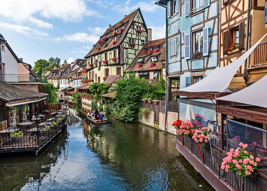 """View of the La Lauch river in the """"Petite Venise"""" section of Colmar, a beautiful Alsatian city"""