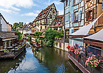 "View of the La Lauch river in the ""Petite Venise"" section of Colmar, a beautiful Alsatian city"