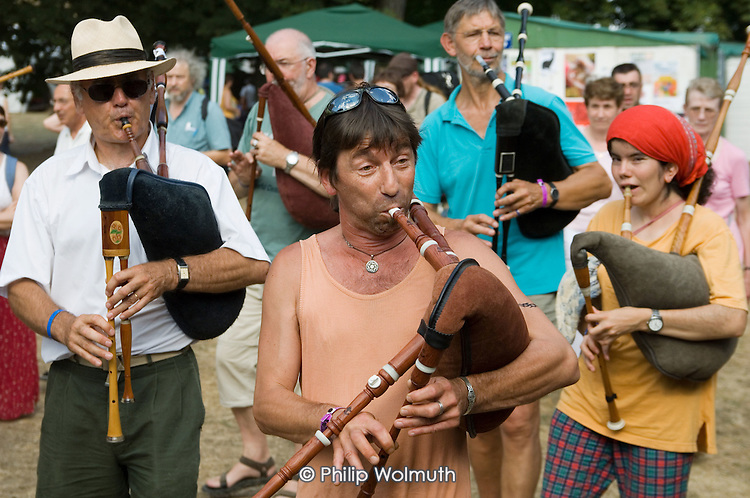Pipe players at the 31st International Festival of Luthiers and Maitres Sonneurs, in Saint Chartier, France.