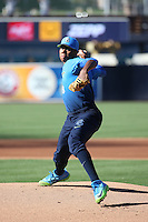 Hunter Greene (8) of the West Team pitches against the East Team during the Perfect Game All American Classic at Petco Park on August 14, 2016 in San Diego, California. West Team defeated the East Team, 13-0. (Larry Goren/Four Seam Images)