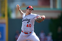Reading Fightin Phils starting pitcher Shane Watson (40) delivers a pitch during a game against the Erie SeaWolves on May 18, 2017 at UPMC Park in Erie, Pennsylvania.  Reading defeated Erie 8-3.  (Mike Janes/Four Seam Images)