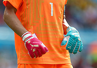 Italy goalkeeper Gianluigi Buffon wearing odd coloured Puma goalkeeping gloves