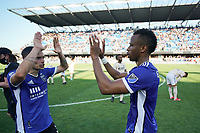 SAN JOSE, CA - AUGUST 8: Paul Marie #3 of the San Jose Earthquakes celebrates with Jeremy Ebobisse #11 after a game between Los Angeles FC and San Jose Earthquakes at PayPal Park on August 8, 2021 in San Jose, California.