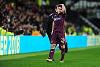 Daniel James of Swansea City leaves the pitch injured during the Sky Bet Championship match between Derby City and Swansea City at the Pride Park Stadium in Derby, England, UK. Saturday 01 December 2018