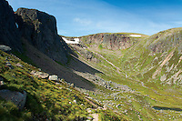 Shelter Stone Crag and Coire Domhain, the Loch Avon Basin, Cairngorm National Park, Badenoch and Speyside, Highland