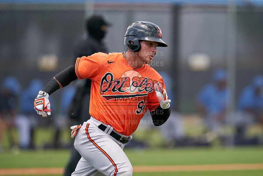 Baltimore Orioles Joseph Ortiz (91) runs to first base during a Minor League Spring Training game against the Tampa Bay Rays on April 23, 2021 at Charlotte Sports Park in Port Charlotte, Florida.  (Mike Janes/Four Seam Images)