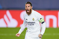 16th March 2021; Madrid, Spain;  Sergio Ramof Real Madrid celebrates after scoring the 2-0 during the Champions League match, round of 16, between Real Madrid and Atalanta played at Alfredo Di Stefano Stadium