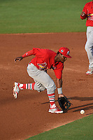 Palm Beach Cardinals shortstop Juan Herrera (12) fields a ground ball during a game against the Lakeland Flying Tigers on April 13, 2015 at Joker Marchant Stadium in Lakeland, Florida.  Palm Beach defeated Lakeland 4-0.  (Mike Janes/Four Seam Images)