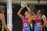 Kiana Pelasio shoots for goal during the National Netball League match between Central Manawa and Southern Blast at Te Rauparaha Arena in Porirua, New Zealand on Sunday, 10 May 2021. Photo: Dave Lintott / lintottphoto.co.nz