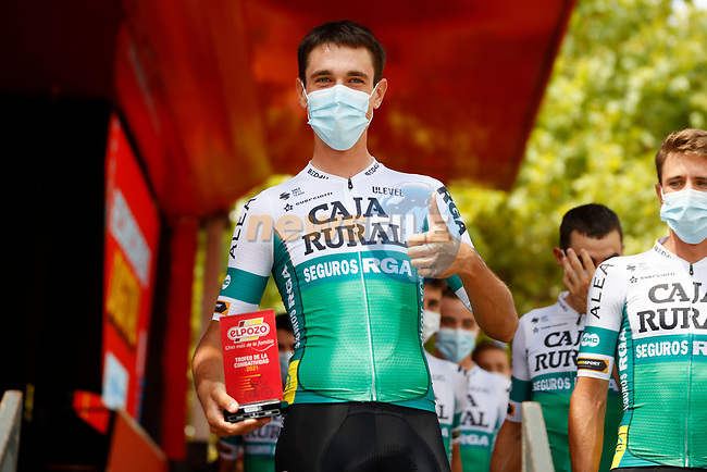 Most aggressive rider from yesterday's stage Oier Lazkano (ESP) Caja Rural–Seguros RGA at sign on before the start of Stage 6 of La Vuelta d'Espana 2021, running 158.3km from Requena to Alto de la Montaña Cullera, Spain. 19th August 2021.    <br /> Picture: Luis Angel Gomez/Photogomezsport | Cyclefile<br /> <br /> All photos usage must carry mandatory copyright credit (© Cyclefile | Luis Angel Gomez/Photogomezsport)