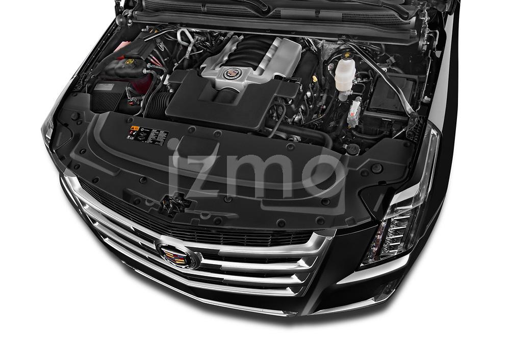 Car Stock 2018 Cadillac Escalade ESV 2WD Luxury 5 Door SUV Engine high angle detail view