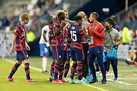KANSAS CITY, KS - JULY 11: USMNT hydrating during a game between Haiti and USMNT at Children's Mercy Park on July 11, 2021 in Kansas City, Kansas.