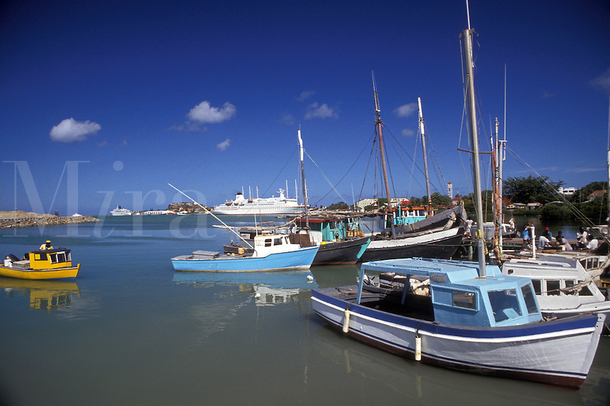 AJ2436, Antigua, Caribbean, St. John's, Caribbean Islands, Fishing boats on St. John's Harbor in St. John's the capital of the island of Antigua (a British Commonwealth member).
