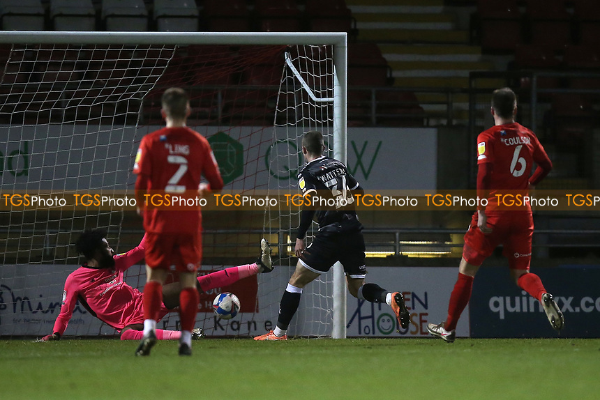 Max Watters of Crawley Town scores the second goal for his team during Leyton Orient vs Crawley Town, Sky Bet EFL League 2 Football at The Breyer Group Stadium on 19th December 2020