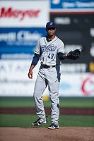 Tri-City Dust Devils starting pitcher Manny Guzman (49) during a Northwest League game against the Everett AquaSox at Everett Memorial Stadium on September 3, 2018 in Everett, Washington. The Everett AquaSox defeated the Tri-City Dust Devils by a score of 8-3. (Zachary Lucy/Four Seam Images)