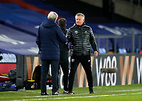2nd January 2021; Selhurst Park, London, England; English Premier League Football, Crystal Palace versus Sheffield United; Sheffield United manager Chris Wilder shaking hands with Crystal Palace Manager Roy Hodgson after full time