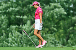 USA Paula Creamer has a moment on the 8th fairway after her ball hit the flag post at the LPGA Championship 2011 Sponsored By Wegmans at Locust Hill Country Club in Rochester, New York on June 24, 2011