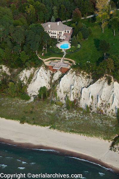 aerial photograph Lake Michigan shoreline estate near South Haven, Michigan