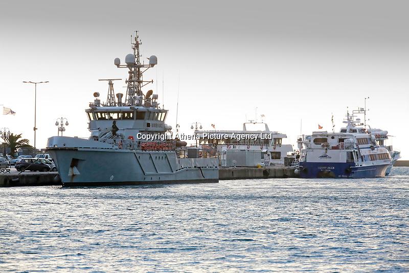 The border control vessel HMC Protector on the port of Mytilene on the island of Lesbos, Greece. Thursday 03 January 2018