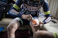 Jérôme Baugnies (BEL/Wanty-Groupe Gobert) oiling up the legs pré-race<br /> <br /> 60th E3 Harelbeke (1.UWT)<br /> 1day race: Harelbeke › Harelbeke - BEL (206km)