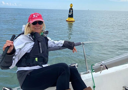 DBSC Commodore Ann Kirwan at the Club's 'Asgard' race mark on Dublin Bay