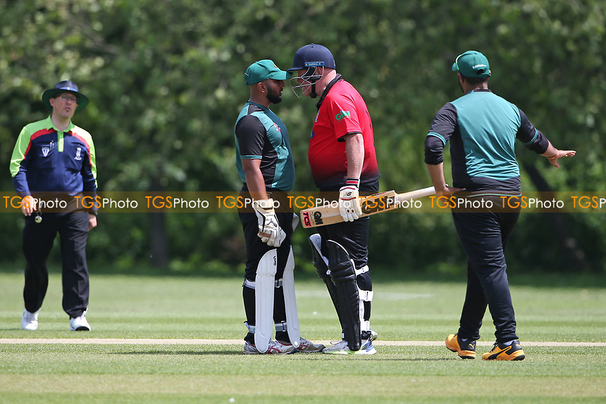 Tempers flare during Hornchurch CC vs Harold Wood CC, Hamro Foundation Essex League Cricket at Harrow Lodge Park on 5th June 2021