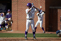 Hunter Lee (2) of the High Point Panthers at bat against the NJIT Highlanders at Williard Stadium on February 19, 2017 in High Point, North Carolina. The Panthers defeated the Highlanders 6-5. (Brian Westerholt/Four Seam Images)