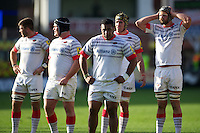 20121027 Copyright onEdition 2012©.Free for editorial use image, please credit: onEdition..Saracens players (L-R) Will Fraser, Matt Stevens, Mako Vunipola, Kelly Brown and Alistair Hargreaves of Saracens during the Aviva Premiership match between Northampton Saints and Saracens at Franklin's Gardens on Saturday 27th October 2012 (Photo by Rob Munro)..For press contacts contact: Sam Feasey at brandRapport on M: +44 (0)7717 757114 E: SFeasey@brand-rapport.com..If you require a higher resolution image or you have any other onEdition photographic enquiries, please contact onEdition on 0845 900 2 900 or email info@onEdition.com.This image is copyright the onEdition 2012©..This image has been supplied by onEdition and must be credited onEdition. The author is asserting his full Moral rights in relation to the publication of this image. Rights for onward transmission of any image or file is not granted or implied. Changing or deleting Copyright information is illegal as specified in the Copyright, Design and Patents Act 1988. If you are in any way unsure of your right to publish this image please contact onEdition on 0845 900 2 900 or email info@onEdition.com