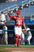 Auburn Doubledays catcher Luis Vilorio (4) during a game against the Mahoning Valley Scrappers on June 19, 2016 at Falcon Park in Auburn, New York.  Mahoning Valley defeated Auburn 14-3.  (Mike Janes/Four Seam Images)