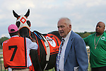 September 1, 2014: King Leatherbury, who trains two-time Turf Monster winner Ben's Cat, waits with him in the paddock before the grade 3 event at Parx Racing in Bensalem, PA.  ©Joan Fairman Kanes/ESW/CSM