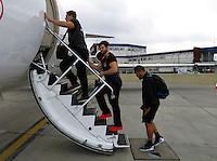 Photo: Richard Lane/Richard Lane Photography. Wasps rugby team and supporters travel to Toulon for the RC Toulon v Wasps.  European Rugby Champions Cup Quarter Final. 04/04/2015. Wasps players board the plane at Luton Airport.
