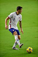ORLANDO CITY, FL - JANUARY 31: Aaron Herrera #2 of the United States moves with the ball during a game between Trinidad and Tobago and USMNT at Exploria stadium on January 31, 2021 in Orlando City, Florida.