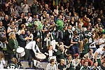 Berlin, Germany, February 01: Fans of HTC Uhlenhorst Muehlheim celebrate after scoring during the 1. Bundesliga Damen Hallensaison 2014/15 final hockey match between Duesseldorfer HC (white) and HTC Uhlenhorst Muehlheim (green) on February 1, 2015 at the Final Four tournament at Max-Schmeling-Halle in Berlin, Germany. Final score 4-1 (1-0). (Photo by Dirk Markgraf / www.265-images.com) *** Local caption ***