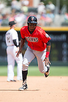 Josh Bell (18) of the Indianapolis Indians takes off for third base during the game against the Charlotte Knights at BB&T BallPark on June 19, 2016 in Charlotte, North Carolina.  The Indians defeated the Knights 6-3.  (Brian Westerholt/Four Seam Images)