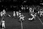 Bethel Park PA:  Defensive play with Jim Dingeldine 73 and Mike Stewart 11 tackling the Highlander quarterback. Others in the photo; Chip Huggins 32, Dennis Franks 66, Gary Biro 81, Joe Barrett 75, Don Troup 51, and Jim Dingeldine 73. After Scott Streiner was injuried on the first play, the team rallied and came up just short of winning the game when they missed a two-point conversion late in the 4th quarter (7-6).  Defensive unit was one of the best in Bethel Park history only allowing a little over 7 points a game.