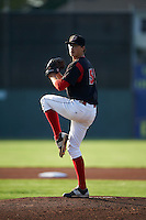 Batavia Muckdogs pitcher Jordan Holloway (56) delivers a pitch during a game against the Auburn Doubledays July 10, 2015 at Dwyer Stadium in Batavia, New York.  Auburn defeated Batavia 13-1.  (Mike Janes/Four Seam Images)
