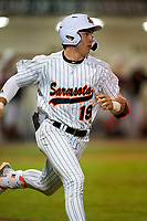 Sarasota Sailors Satchell Norman (19) runs to first base during a game against the Riverview Rams on February 19, 2021 at Rams Baseball Complex in Sarasota, Florida. (Mike Janes/Four Seam Images)