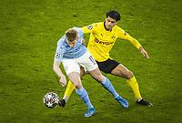 14th April 2021; Induna Park, Dortmund, Germany; UEFA Champions League Football quarter-final, Borussia Dortmund versus Manchester City; Kevin De Bruyne City, Mahmoud Dahoud BVB Borussia Dortmund