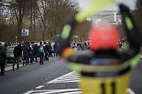 the first breakaway group up the Nieuwe Kwaremont<br /> <br /> 74th Dwars door Vlaanderen 2019 (1.UWT)<br /> One day race from Roeselare to Waregem (BEL/183km)<br /> <br /> ©kramon