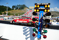 Jun. 15, 2012; Bristol, TN, USA: NHRA funny car driver Cruz Pedregon during qualifying for the Thunder Valley Nationals at Bristol Dragway. Mandatory Credit: Mark J. Rebilas-