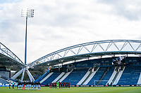 13th April 2021; The John Smiths Stadium, Huddersfield, Yorkshire, England; English Football League Championship Football, Huddersfield Town versus Bournemouth; players observe a minutes silence to honour the life of Price Philip, Duke of Edinburgh, who died in Windsor Castle  on 9th April 2021