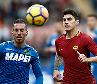 Calcio, Serie A: AS Roma - Sassuolo, Roma, stadio Olimpico, 30 dicembre 2017.<br /> Roma's Diego Perotti (r) in action with Sassuolo's Antonio Ragusa (l) during the Italian Serie A football match between AS Roma and Sassuolo at Rome's Olympic stadium, 30 December 2017.<br /> UPDATE IMAGES PRESS/Isabella Bonotto